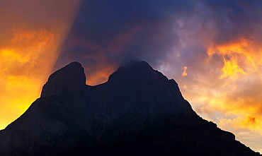 Spain, Catalonia, Pyrenees, Pedraforca The Pedraforca Mountain in the heart of the Cadi-Moixero Natural Park