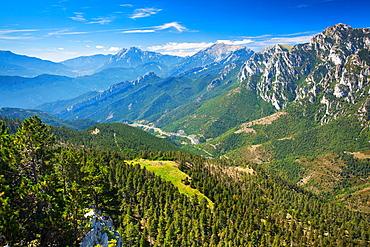 Spain, Catalonia, Pyrenees, Cadi-Moixero Natural Park The Pyrenees mountain range in the Cadi-Moixero Natural Park