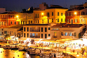 Cales Fonts at dusk, Es Castell, Georgetown, Minorca, Balearic islands, Spain