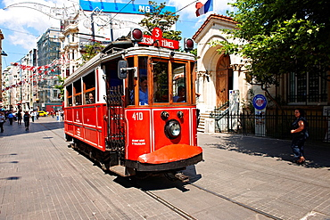 historic tram of stiklal Avenue or Istiklal Street stiklal Caddesi, French: Grande Rue de Pera, or Independence Avenue one of the most famous avenues in Istanbul, Turkey