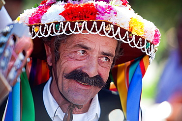 Portrait of Verdialero with typical hat Verdiales Festival Malaga, Andalusia, Spain