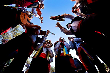 Verdiales in Action Group, nadir view Verdiales Festival Malaga, Andalusia, Spain