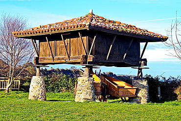 Horreo, traditional Asturias granary at cart in Cadavedo, Asturias, Spain