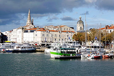 The tower of the lantern and the tower of the church of St. Jean, La Rochelle, Charente-Maritime, Poitou-Charentes, France.