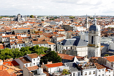 Roofs and bell tower of the church of Saint-Jean, La Rochelle, Charente-Maritime, Poitou-Charentes, France.