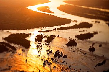 Aerial view of the Zambezi river, tilt shift effec
