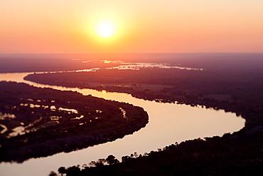Aerial view of the Zambezi river, tilt shift effect