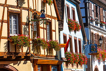 Close up of decorated windows in Eguisheim, Alsace, France, Europe