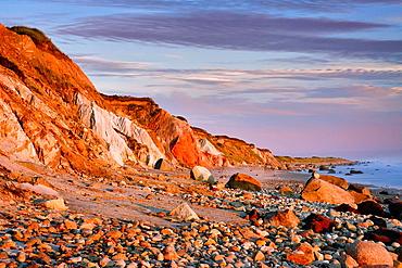 Coastal clay cliffs and rock formations, Gay Head, Aquinnah, Martha's Vineyard, Massachusetts, USA Tribal lands of the native american Wampanoag tribe