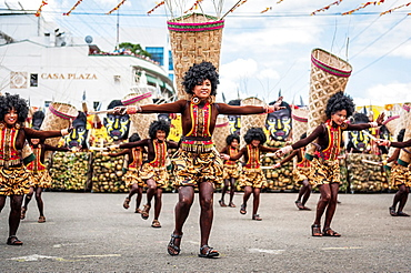 Participants of the dance contest during the celebration of Dinagyang in homage to 'The Santo Nino', the patron saint of many Philippino cities Iloilo, Philippines