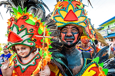 Participants of the parade during the celebration of Dinagyang in homage to 'The Santo Nino', the patron saint of many Philippino cities Iloilo, Philippines