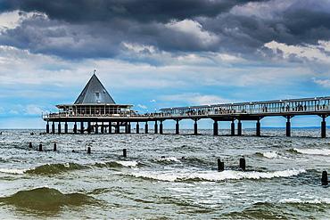 The Heringsdorf Pier is a pier at the Baltic Sea The pier is 508 meters long It was built in 1995, Heringsdorf, Usedom Island, County Vorpommern-Greifswald, Mecklenburg-Western Pomerania, Germany, Europe