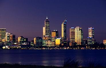 Perth city on Swan River, Western Australia