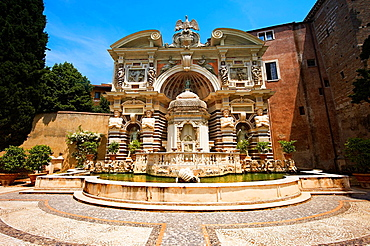 The Organ fountain, 1566, housing organ pipies driven by air from the fountains Villa d'Este, Tivoli, Italy, Unesco World Heritage Site