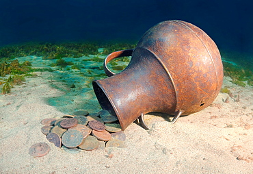 Underwater treasure, vase with the Russian coins of the Siberian stamping of times of empress Ekaterina II Lake Baikal, Siberia, Russian Federation