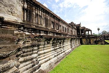 A long decorated wall at Angkor Wat, Cambodia