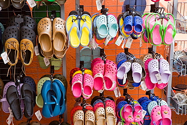 Fiskardo, Island of Kefalonia Cephalonia, Greece: outdoor display of casual shoes for sale