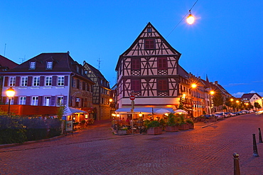 Colmar, Little Venice at Dusk, La Petite Venise, Alsace, Wine Route, Alsace Wine Route, Haut-Rhin, France, Europe.