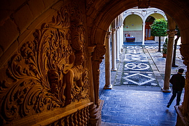 Detail in Courtyard of Palacio de Jabalquinto 16th century, Baeza  Jaen province, Andalusia, Spain