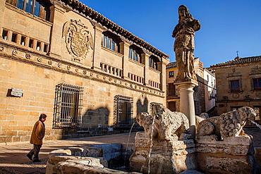 Antiguas Carnicerias and Fuente de los Leones in Plaza del Populo o de los leones, Baeza  Jaen province, Andalusia, Spain
