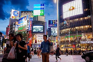 Scramble Kousaten crossing in Shibuya  Tokyo city, Japan, Asia