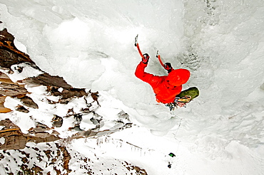 McLean Worsham ice climbing Palisade Falls which is rated WI-4 and located in Hyalite Canyon in the Gallatin Mountains near the city of Bozeman in southern Montana