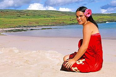 Islander, Anakena beach, Anakena, Easter Island, Chile.