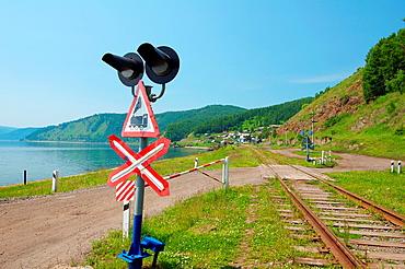 railway crossing, Circum-Baikal Railway, Lake Baikal, Irkutsk region, settlement Baikal, Siberia, Russian Federation