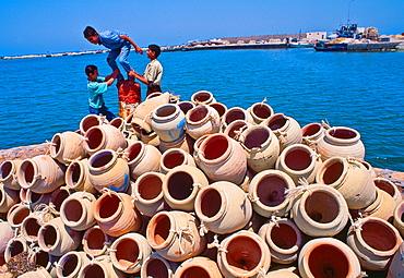 Harbour in Houmt Souk Amphora Octopus fishing Djerba island Southern Tunisia.