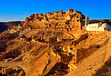 Berber village of Chenini, with its prominent mosque Tataouine district Southern Tunisia.