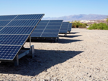 Solar panels in the immediate vicinity of the Furnace Creek Visitor Center in the Death Valley Death Valley National Park, California, USA