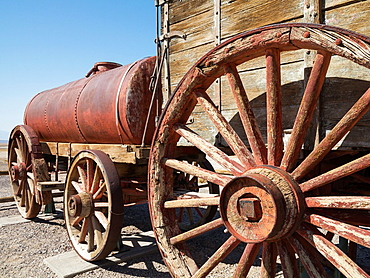 Displayed wagons at the Harmony Borax Works in the Death Valley Between 1883 and 1888 these wagons, pulled by the legendary twenty-mule teams, hauled the borax out of the valley Death Valley National Park, California, USA