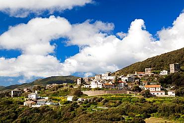 France, Corsica, Haute-Corse Department, Le Cap Corse, Morsiglia, elevated town view
