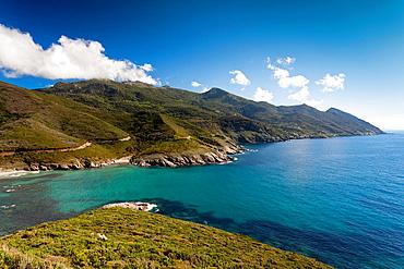 France, Corsica, Haute-Corse Department, Le Cap Corse, Morsiglia, elevated costal view