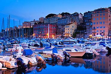 France, Corsica, Haute-Corse Department, Le Cap Corse, Bastia, Old Port, dusk