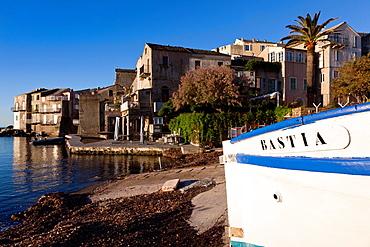 France, Corsica, Haute-Corse Department, Le Cap Corse, Erbalunga, port view, dawn