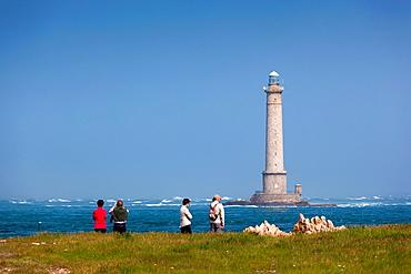 France, Normandy Region, Manche Department, Goury, Cap de la Hague lighthouse with visitors, NR
