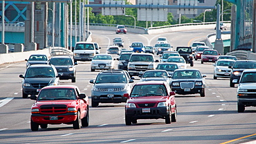 Cars and traffic speeding on freeway in Providence, Rhode Island, United States