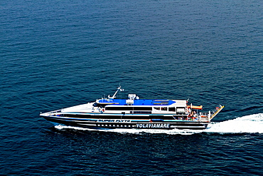 A Super Flyte excursion ferry in the Bay of Naples leaving Sorrento, Campania, Italy