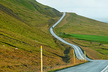 empty road through the northern fjords of Iceland