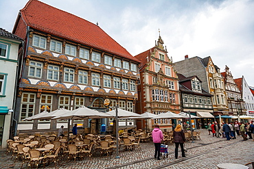 Adorned houses in the city of Hamelin on the German Fairy Tale Route, Lower Saxony, Germany, Europe