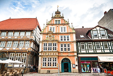 The picturesque Leisthaus and Stiftsherrenhaus in Hamelin on the German Fairy Tale Route, Lower Saxony, Germany, Europe