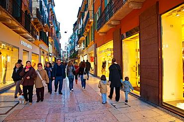 Via Mazzini pedestrian street central Verona city the Veneto region Italy Europe
