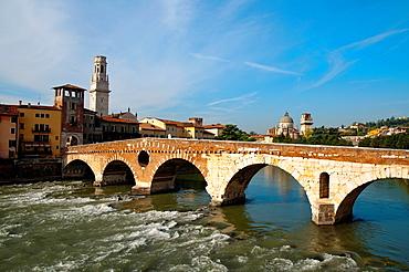 Ponte Pietra bridge Verona city the Veneto region northern Italy Europe
