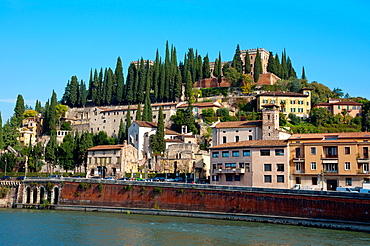 Veronetta district with Archeology museum and castel San Pietro in background Verona city the Veneto region northern Italy Europe