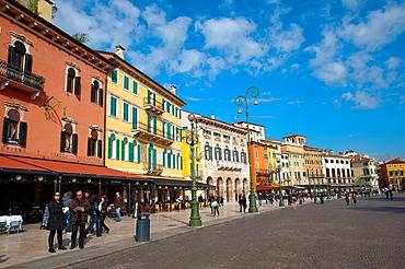 Piazza Bra square in the historical centre of Verona city the Veneto region northern Italy Europe
