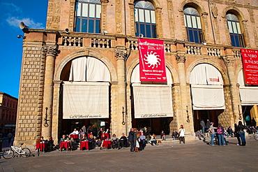 Cafe outside Palazzo del Podesta at Piazza Maggiore square central Bologna city Emilia-Romagna region northern Italy Europe