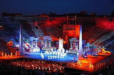 Aida by Verdi, performance at Arena, Verona, Italy