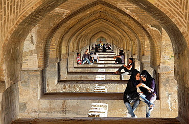 Arches of Si-o-se Pol bridge, or bridge of 33 arches, Isfahan, Iran