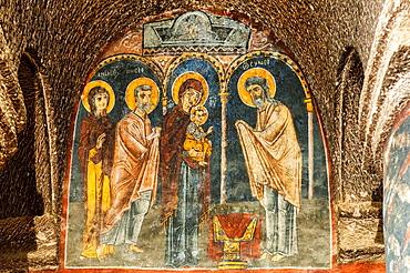 Gumusler cave monastery, Church, Wall paintings, Nigde Province, Turkey